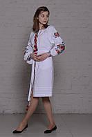 """Короткое платье вышиванка """"цветочное поле"""" белое"""
