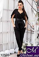 Женский брючный черный костюм с капюшоном (р. S, M, L) арт.12520