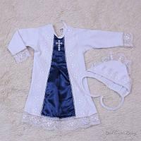 """Нарядная рубашка для крестин """"Даниила"""" белая с синим, фото 1"""