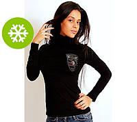 Теплая водолазка женская «Порше», стразы, байка, 5 цветов, 2 размера, хлопок-стрейч