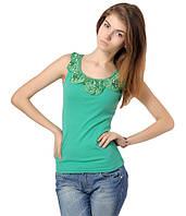Майка женская с рюшами зеленая, фото 1