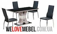 Стол обеденный Космо черный, металл + МДФ + стекло, Киев