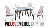 Стол обеденный раскладной Маршал белый, металл + стекло, Киев