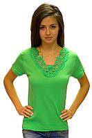 Зеленая футболка женская летняя с коротким рукавом однотонная хлопок с кружевом трикотажная (Украина)
