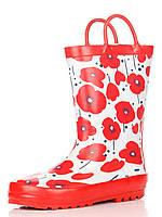 Резиновые сапоги белые, украшены цветами, красная подошва 29зм. (Д)