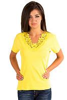 Желтая футболка женская летняя с коротким рукавом однотонная хлопок с кружевом трикотажная (Украина)