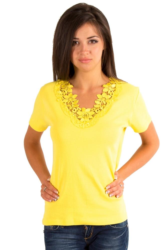 Желтая футболка женская летняя с коротким рукавом однотонная хлопок с кружевом трикотажная Украина