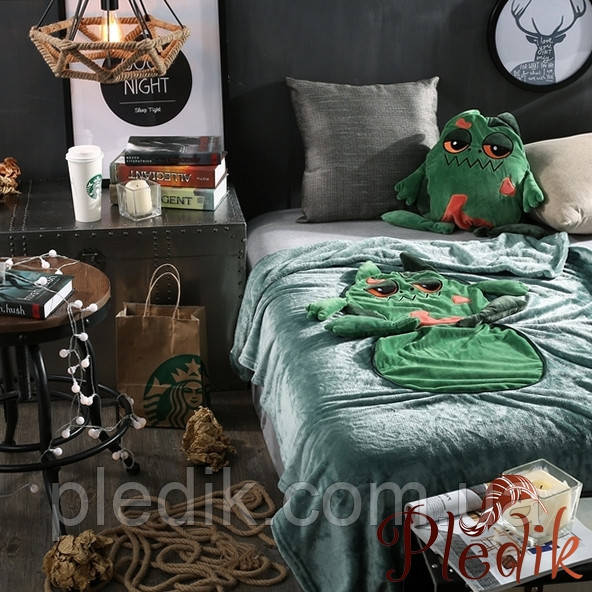 Плед детский 110х160, подушка-игрушка Лягушка зеленая