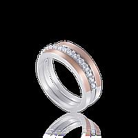 КОЛЬЦО серебряное со вставками золота АМУР-2.Кольцо из серебра с золотой пластиной.серебро с золотыми накладка