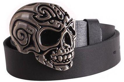 Изысканный мужской кожаный ремень  с пряжкой череп Topgal 49128 ДхШ: 130х4 см, черный