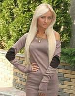 Короткое трикотажное платье «Латки», французский трикотаж, 3 размера, цвет капуччино, длинный рукав