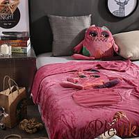 Плед детский 110х160, подушка-игрушка Лягушка розовая