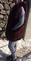 Детская подростковая  жилетка из меха лисы, цвет марсала. Мех натуральный.