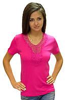 Розовая футболка женская яркая без рисунка летняя с коротким рукавом хлопок с гипюром трикотажная (Украина)