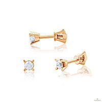 Эдем Золотые серьги c бриллиантом с7296gа