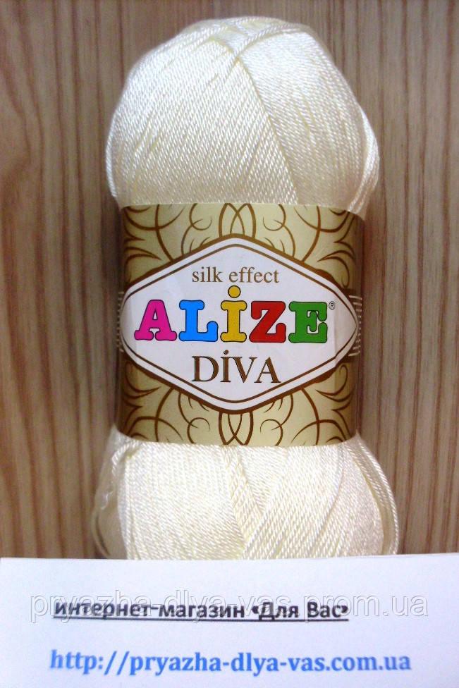 Летняя акриловая пряжа (100% микрофибра акрил, 100г/350м) Alize Diva 62
