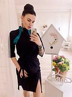 Модное женское черное платье с бирюзовыми  вставками, с поясом. Арт-3039/18