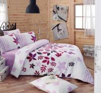 Комплект постельного белья евро Majoli ранфорсПостельное белье Majoli Bahar teksil Nuty v4Lila