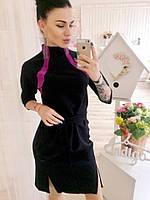 Модное женское черное  платье с малиновыми  вставками, с поясом. Арт-3039/18