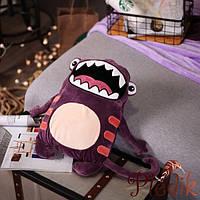 Плед детский 110х160, подушка-игрушка Большой рот сиреневый