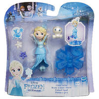 Маленькая кукла Эльза Холодное Сердце на движущейся платформе-снежинке, B9249
