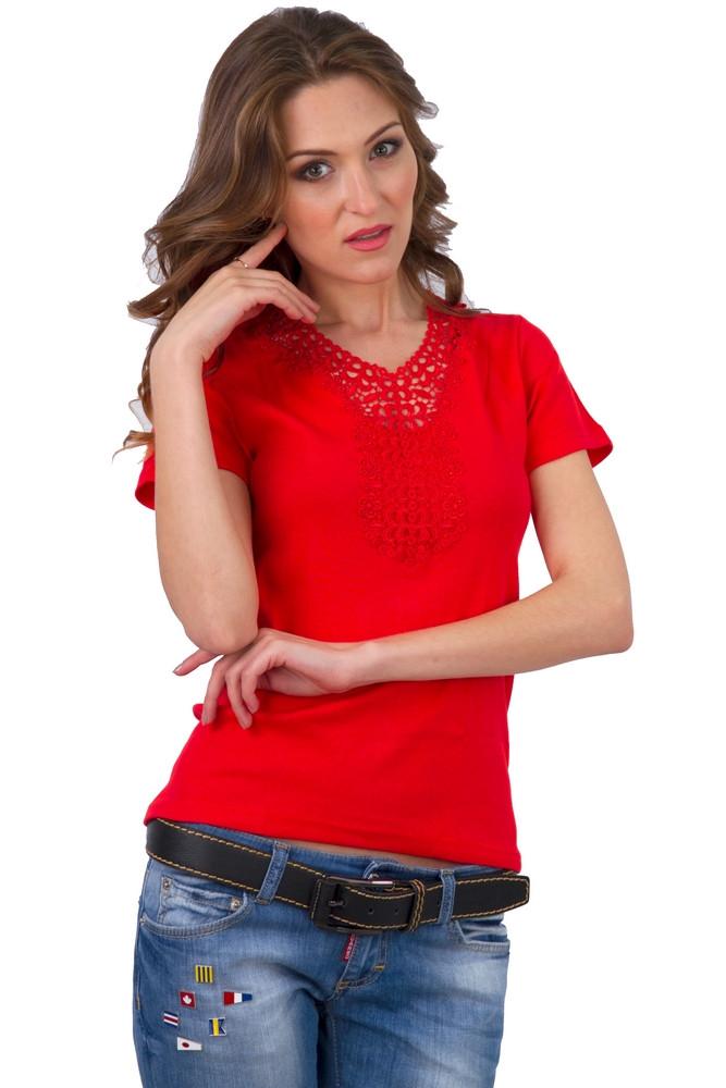 Красная футболка женская яркая без рисунка летняя с коротким рукавом хлопок с гипюром трикотажная Украина