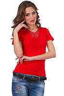 Красная футболка женская яркая без рисунка летняя с коротким рукавом хлопок с гипюром трикотажная (Украина)