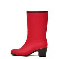 Жіночі чоботи Nordman Bellina укорочені на підборах з хутром Червоні