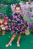Детское трикотажное  платье в цветочек р. 104-122