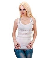 Майка женская с гипюром белая, фото 1