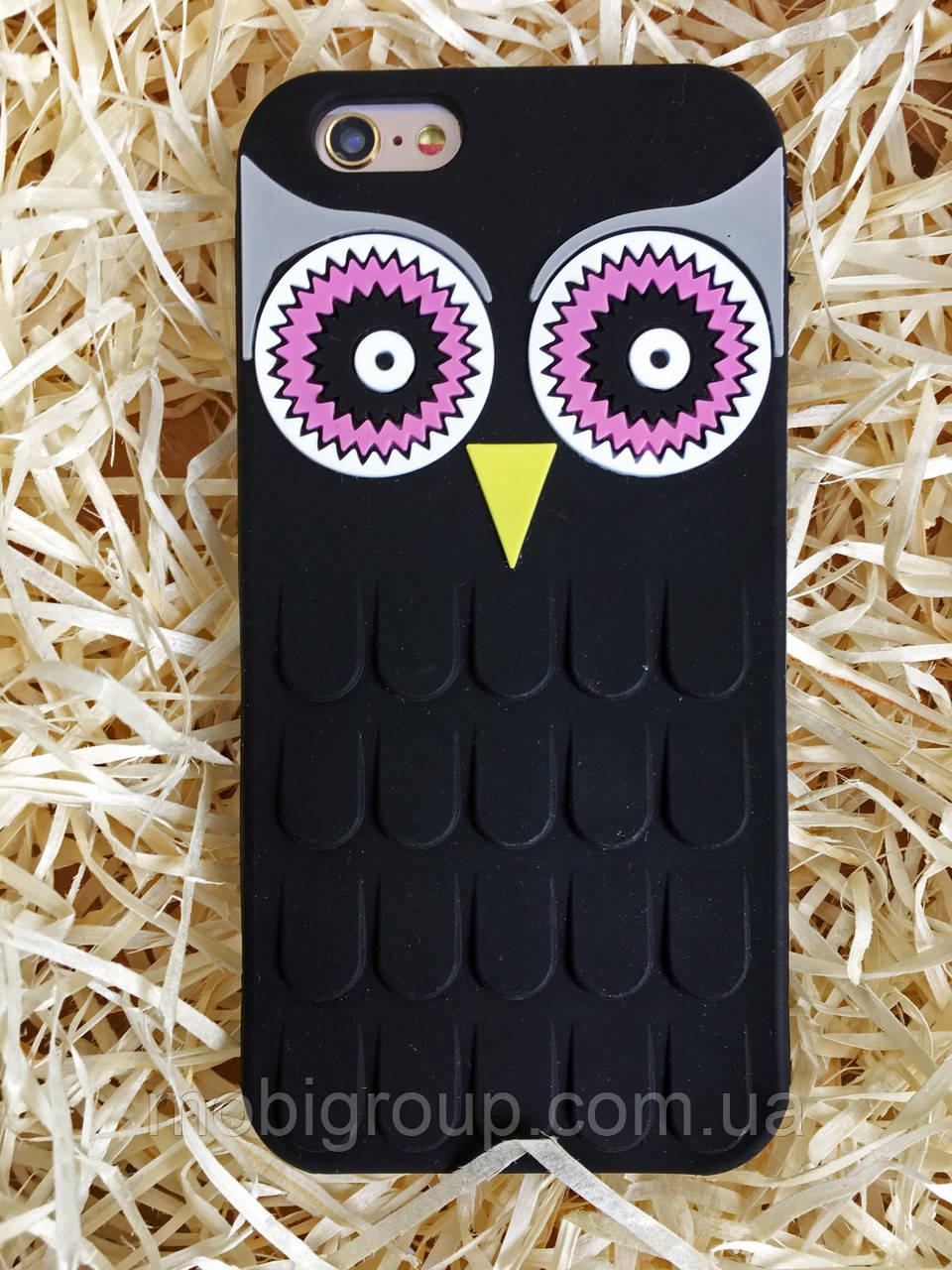 Силиконовый чехол Сова iPhone 6S/6, черный