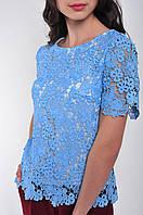 Женская блузка голубая кружевная