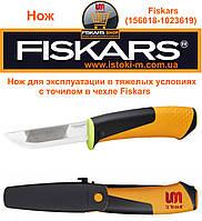 Нож для эксплуатации в тяжелых условиях с точилкой Fiskars (156018 – 1023619)