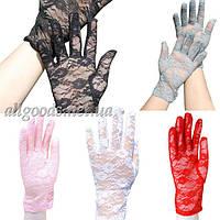 Перчатки кружевные короткие разные цвета