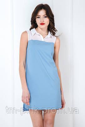 Сукня-сорочка вільного силуету блакить