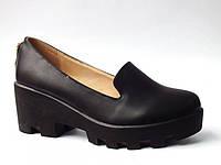 Нарядные туфли на тракторной танкетке эко кожа бежевые черные