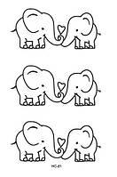Флеш тату, временная переводная татуировка Слоны