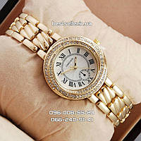 Часы Cartier crystal gold/white.
