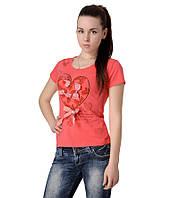 Футболка женская сердечко с бантом коралловая, фото 1