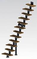 Прямая модульная лестница  Самба 9 ступеней шириной 750