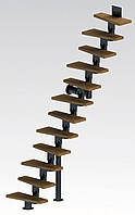 Прямая модульная лестница  Самба 11 ступеней шириной 750