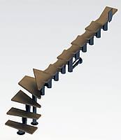 Г-образная модульная лестница  Самба 11 ступеней шириной 750