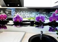 Декоративная панель из стекла c изображением цветов фиолетовой орхидеи