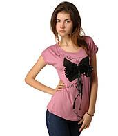 Футболка женская с Бантом из паеток розовая