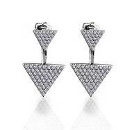 Модные серьги из серебра 925 пробы Треугольник