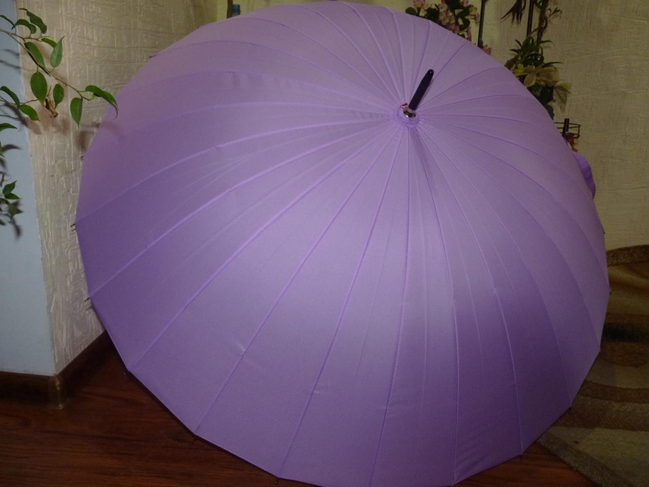 Женский семейный зонт трость на 24 спицы фиолетовый