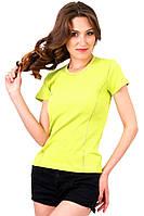 Футболка женская  летняя для спорта без рисунка с коротким рукавом хлопок салатовая горчичная стрейч (Украина)