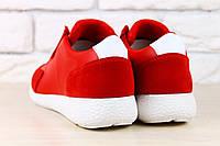 Красные кроссовки Lacoste, кожа и замша