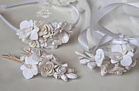 """""""Розочки с орхидеями""""авторский свадебный комплект украшений с цветами из полимерной глины."""