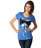 Футболка женская с Бантом из паеток голубая